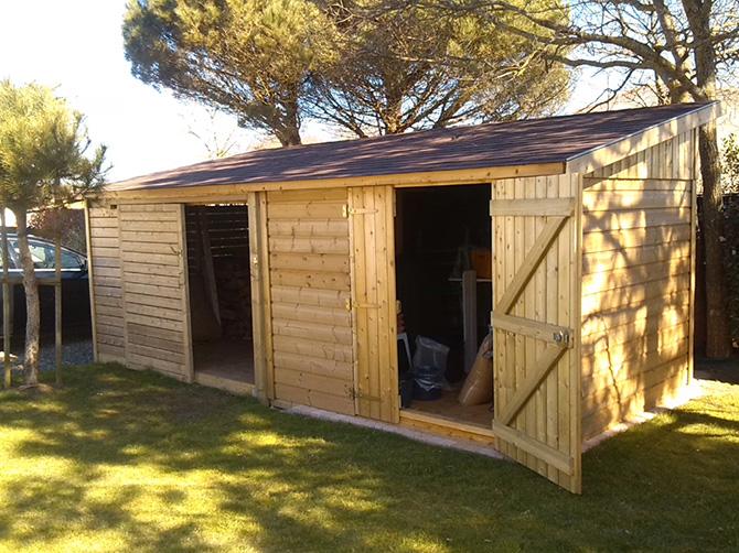 Image 5 - Construction sur mesure - Abri de jardin + Abri bois - 2.05 x 5.00 m - Bardage Autoclave