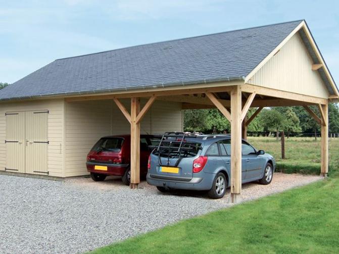 garages ossature bois avec auvent environnement bois. Black Bedroom Furniture Sets. Home Design Ideas