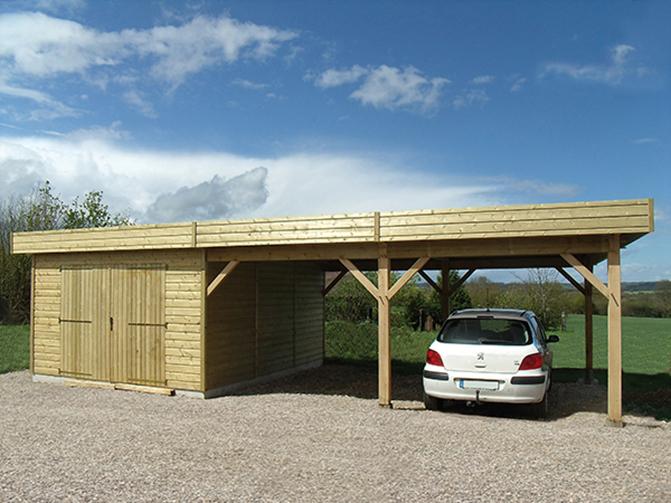 Garages ossature bois avec auvent environnement bois for Garage avec auvent